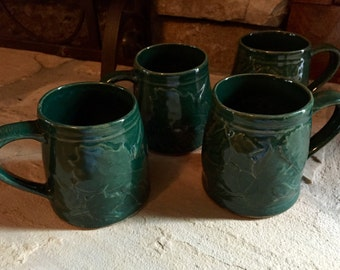 Set of 4 Rowe Pottery Oak and Maple Leaf Green Mugs