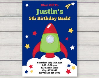 Space Astronaut Invitation - Printable Birthday Party Invitation - Instant Download - Editable Text
