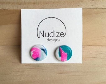 "Handmade statement stud earrings // gifts for her // ""Mindful"""