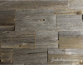 Reclaimed Barn Wood Tiles, Old English Pattern, Grey Barn Board, Old Century, Architectural Salvage, Wall Art by Junkwhisperer.com