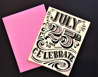 pink black and white hand lettered customized birthday card