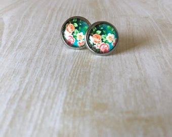 Pink Floral Glass Dome Earrings - Flower Earrings - Pink Floral Earrings