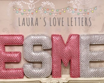 sequin fabric letters personalised initial name baby room nursery baby gift baby shower padded letters wall art sequin children