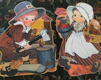 Laminated Thanksgiving Decor Pieces, Ambassador Hallmark, 1970s