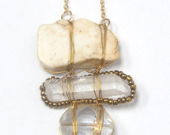 Handmade genuine stones linked necklace