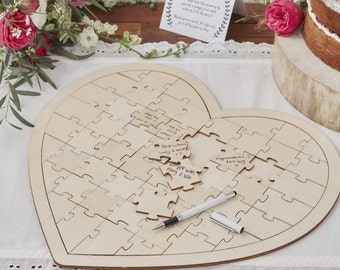 Wedding Guest Book - Heart Jigsaw