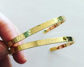 thin gold bangle custom personalized stamped bracelet