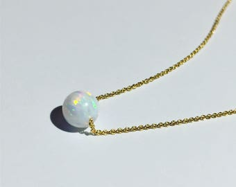 SALE !!! Fire opal pendant necklace on dainty gold chain