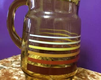 Pitcher with stripes, vintage pitcher, large vintage pitcher, vintage amber pitcher, 1950's glassware, tall water pitcher,  tea pitcher