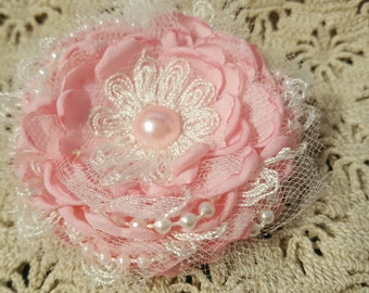 Pink Shabby Hair Flower Lace Pearl Tulle Bridal Lace Shabby Chic
