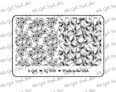 """IG308 Nail Art """"Mini"""" Stamping Plate - floral, spring, cherry blossom, dandelion, seed"""
