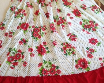 Midcentury Christmas Apron With Poinsettias and Bells