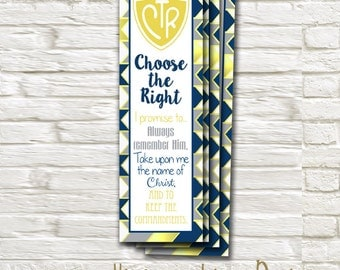 LDS Baptism BookMark, 2x7 Card, Digital Printable, Yellow Navy and Gray - Instant Download - Can Customize