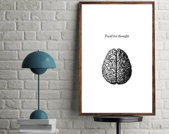 Printable Wall Art Prints, Instant Download Printable Art,Food for thought,Printable Quotes,Digital Print,Brain,Minimalist,Modern