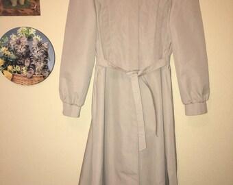 80s Thin Khaki Trench Coat with Matching Tie Belt