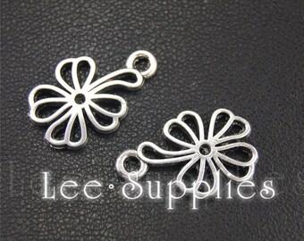 20pcs Antique Silver Flower Charms Pendant A1948