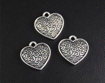 30pcs Antique Silver Heart Charms Pendant A2076
