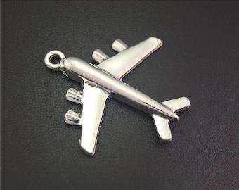 10pcs Antique Silver Airplane Charms Pendant A2155