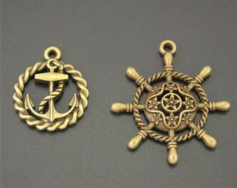 10pcs Antique Bronze Filigree Rudder Anchor Charms Pendant A2171/A2172
