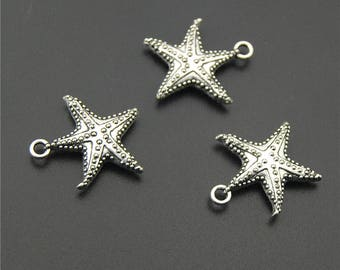 30pcs Antique Silver Starfish Charms Pendant A2211