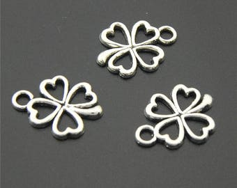 30pcs Antique Silver Lucky Four-Leaf Clover Charms Pendant A2225