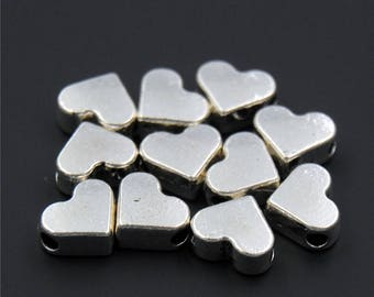 30pcs Antique Silver Heart European Big Hole Bead Charms Pendant A2311