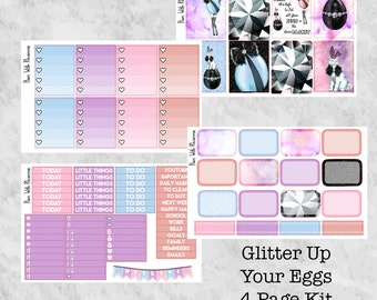 Glitter Up Your Eggs 4 Page Weekly Kit for the Erin Condren Life Planner