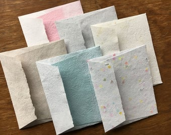 Assorted Envelope and Card Set of 6/ Recycled Paper Envelope & Card/ Recycled Handmade Cards/ Handmade Greeting Cards