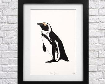 African Penguin Screen Print - penguin lover - wall art - penguin picture - penguin lover gift - animal print - penguin art