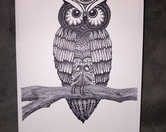 SOLD -- Owl and Branch