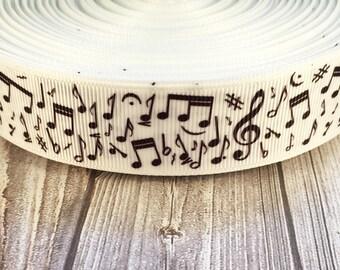 "Music ribbon - Music notes - 1"" Grosgrain ribbon - DIY music bows - DIY music headband - DIY music lanyard - I love music - Love to sing"
