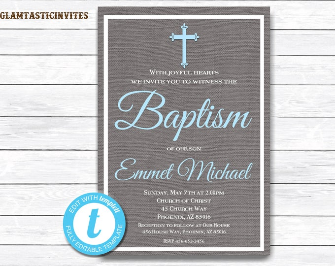 Baptism Invitation Boy, Baptism Invitation Printable, Boy Baptism Invitation, Printable Baptism Invitation, YOU EDIT, Instant Download, DIY