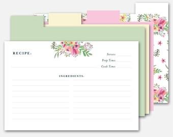 4x6 Recipe Card, Printable Recipe Card, Recipe Dividers, Card Recipe, Downloadable Recipe Card, Recipe Card with Dividers, Recipe Card