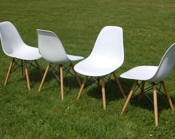 Retro Eiffel Matt White Kitchen Dining Office Chairs 4 Available