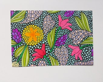 Abstract floral postcard