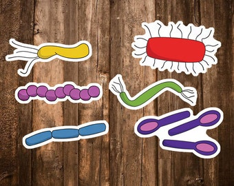 Microbiology Science Stickers - 6 Biology Stickers - Bacteria Art - Microbe Spore Notebook/Planner Sticker Set/Naturalist Geek Science Gifts