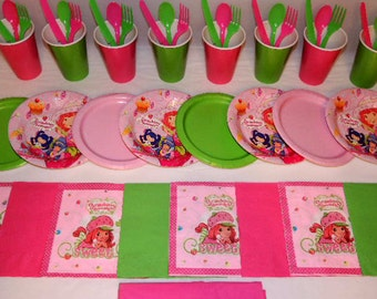 49 Piece Strawberry Shortcake Place settings Table Decorations Party Supplies