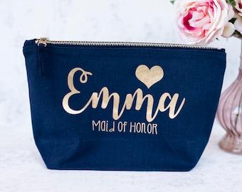 Bridesmaid gift bag, make up bag, cosmetic bag, vanity bag, Navy blue.