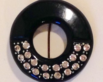 Deco Celluloid And Rhinestone Brooch