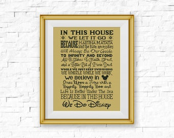 BOGO FREE! Disney Cross Stitch Pattern, In This House, We Do Disney Cartoon Quote xStitch, Modern, Mickey Mouse, PDF Instant Download #037-3