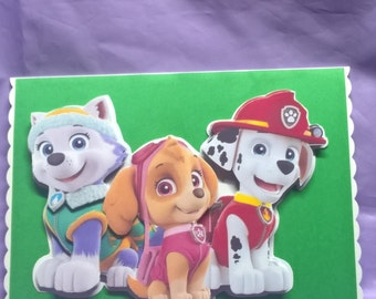 """Paw Patrol card for all fans,I can add """"happy birthday,a name,age or family member or another occasion please ask me when ordering the card"""