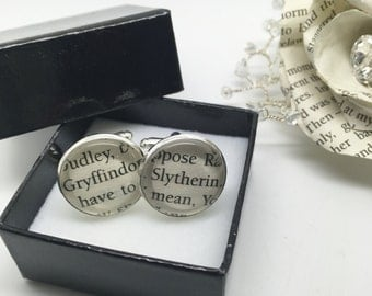 Gryffindor/Slytherin - Re-cycled Harry Potter book glass cufflinks. BOXED.