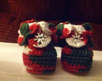 Crocheted Christmas Booties, newborn size