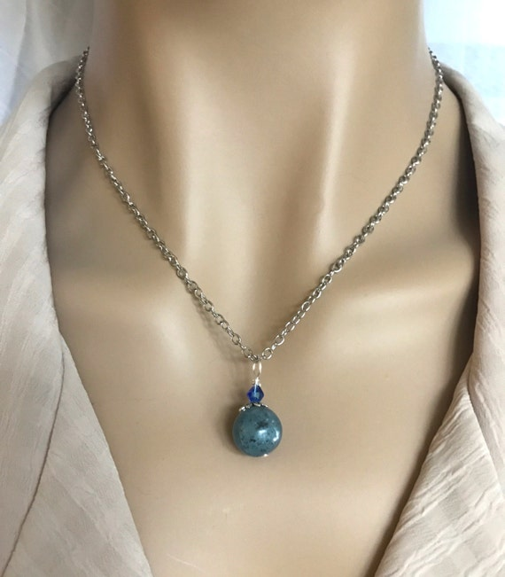 Kyanite Gemstone Necklace with Swarovski Crystal Accent. Beautiful Natural Stone. Lava Stone Essential Oil Aromatherapy Option Available