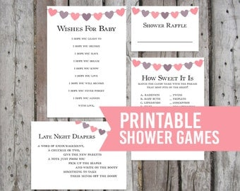 4 Printable Baby Shower Games, Baby Girl Shower Games, Shower Party Games