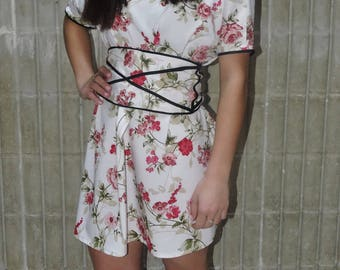 Floral Dress With Linework Belt