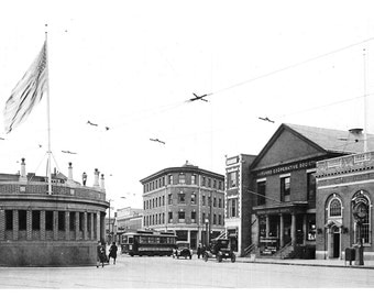 Harvard Square from 1920 - many sizes - view of The Coop, the T station -  much remains the same black and white Harvard Poster Framable