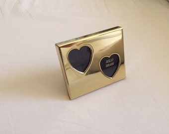 Vintage Brass Double Heart Mini Picture Frame