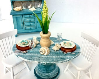 Miniature beach table, dollhouse table and chairs, miniature place setting