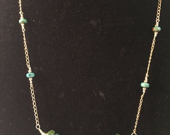 Arizona Turqouise and 14k Gold Filled Necklace
